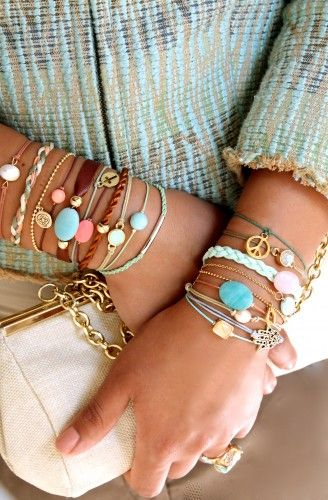 Arm soiree. Talk about colorful and fun:) Wow. Wrist candy gone crazy!