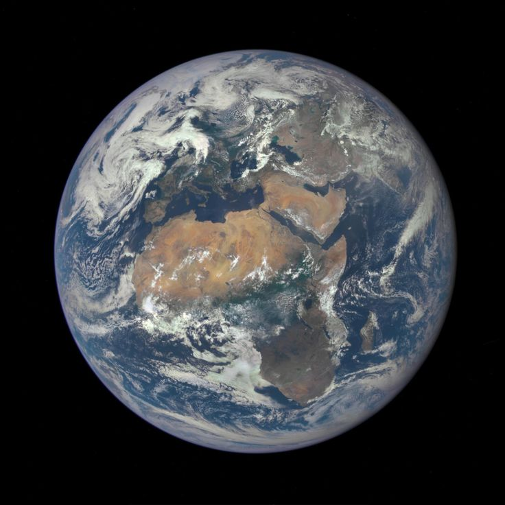 Africa is front and center in this image of Earth taken by a NASA camera on the Deep Space Climate Observatory (DSCOVR) satellite. The image, taken July 6 from a vantage point one million miles from Earth, was one of the first taken by NASA's Earth Polychromatic Imaging Camera (EPIC). Central Europe is toward the top of the image with the Sahara Desert to the south, showing the Nile River flowing to the Mediterranean Sea through Egypt. The photographic-quality color image was generated by…