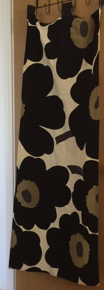 Large flower black/white/olive Good condition. Black Pieni. Unikko Has three large tabs for curtain rod to go thru I do not ship to Hawaii | eBay!