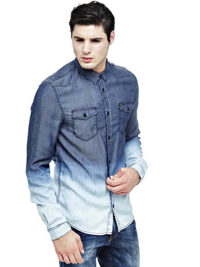 EUR89.90$  Buy now - http://vioms.justgood.pw/vig/item.php?t=9aukd4x53208 - DEGRADÉ-LOOK DENIM SHIRT' EUR89.90$