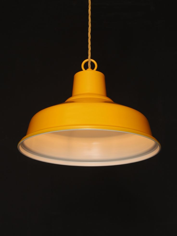 Ceiling Lights Yellow : Ceiling pendant light with a yellow spray outer and white