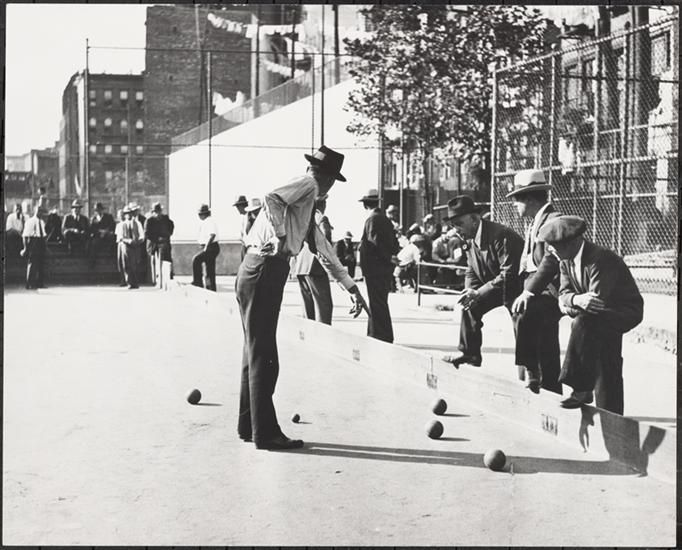 Italian Men Playing Bocce, Houston Street near First Avenue.