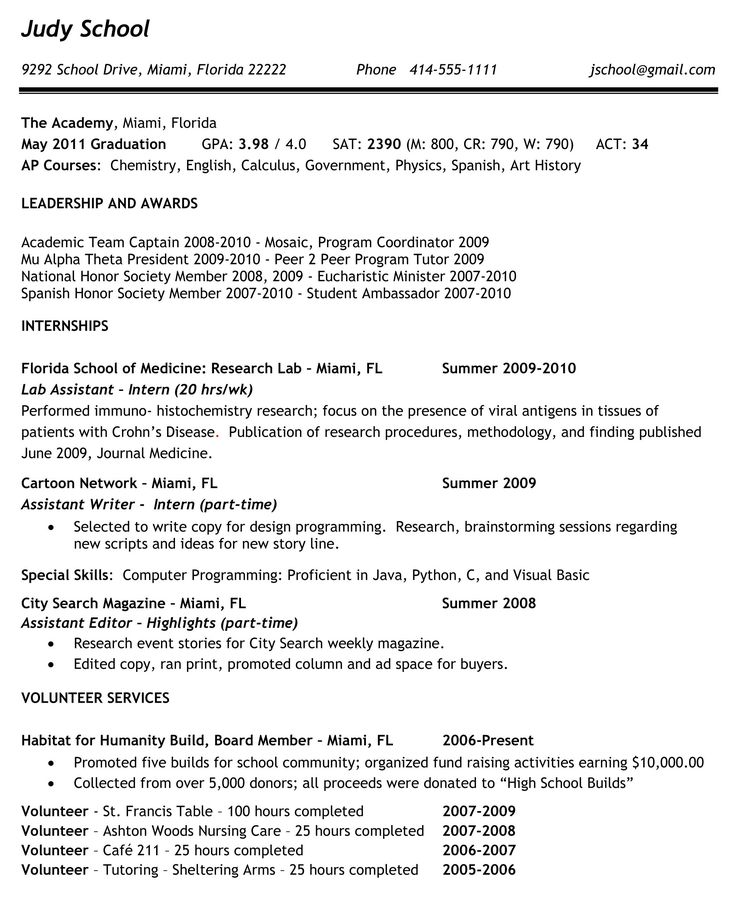 13 best Resume for High School Students images on Pinterest Resume - habitat specialist sample resume