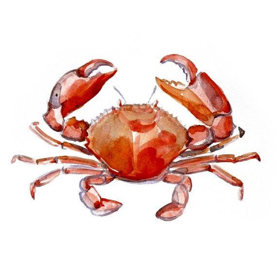 Crab Original Watercolor painting fine art artwork wall home decor ocean sea…