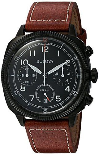 Bulova Men's 'Classic' Quartz Stainless Steel and Leather Watch, Color:Brown (Model: 98B245). Chronograph Functions with 60 Second, 60 Minute and 1/10 of a Second Subdials; Date Window at 6:00; Ultra High Frequency. Black Dial with White and Red Hands and White Arabic Numerals; Luminous; Screw-Down Crown; Mineral Crystal; Black Ion-Plated Stainless Steel Case; Brown Leather Strap with Contrast Stitching. Japanese-quartz Movement. Case Diameter: 42mm. Water Resistant To 100m (330ft): In...