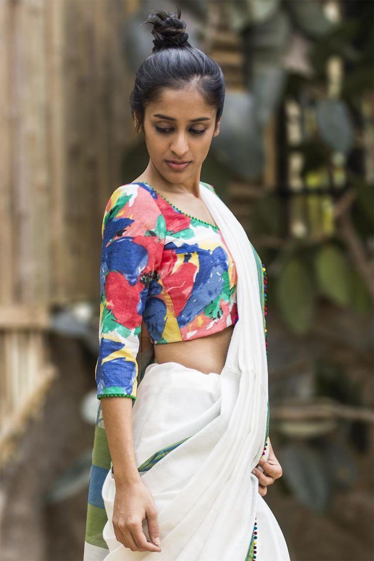 Painterly floral blouse, pom pom edging blouse