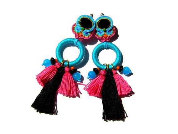 Natalia  eye-catching soutache earrings boho ethnic