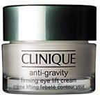Clinique Anti-Gravity Firming Eye Lift Cream is for all skin types. This rich textured eye cream firms, lifts and deeply hydrates the delicate eye area. With con...