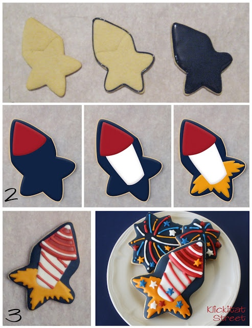 how to decorate firework rocket cookies