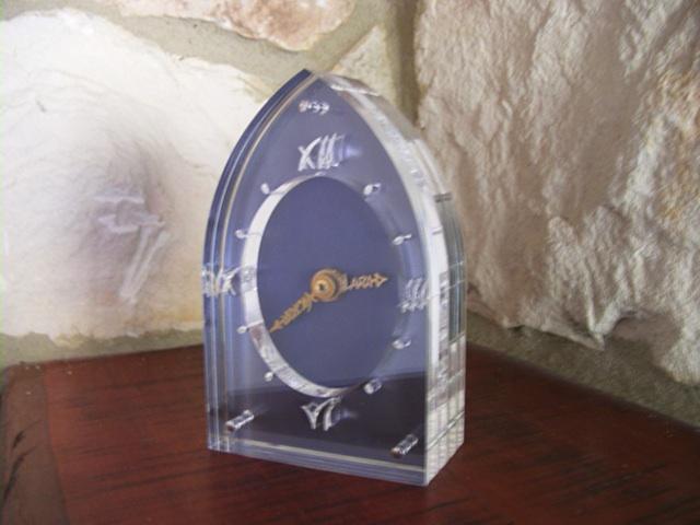 Mantle clock. Laser cut acrylic, titanium, pierced  brass hands