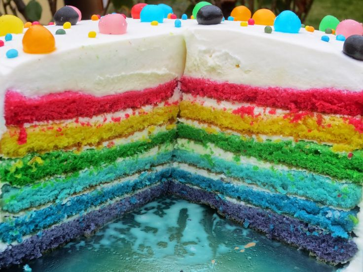 Tarta arco iris Rainbow cake de trufa blanca con Thermomix