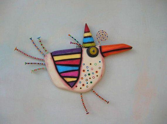 Birthday Chicken MADE to ORDER Original Found por FigJamStudio