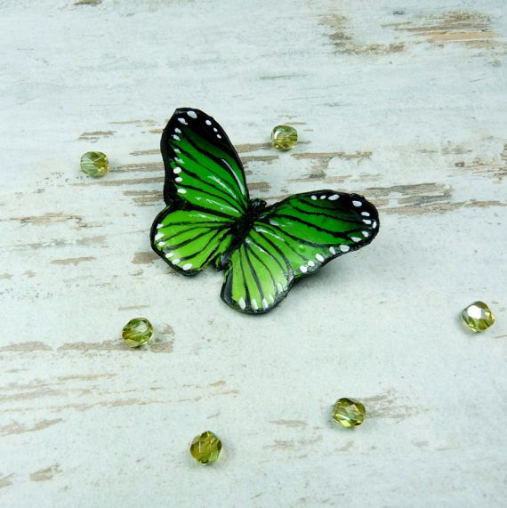 butterfly polymer claybrooches pin  brooches by KAMELEONjewelryART