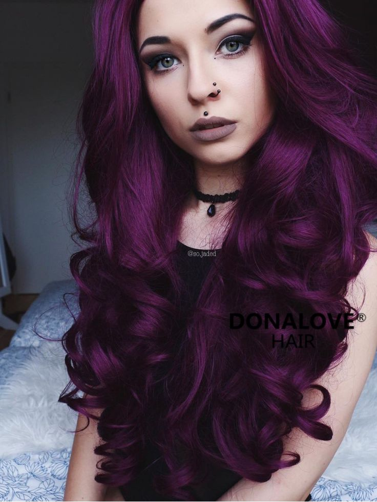 Dark Purple Wavy Waist Length Lace Front Synthetic Wig ...