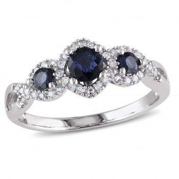 10k White Gold 2/5 Carat T.G.W. Sapphire and 1/8 Carat T.W. Diamond Three Stone Ring - Sapphire (September) - Gemstones - by Samuels Jewelers