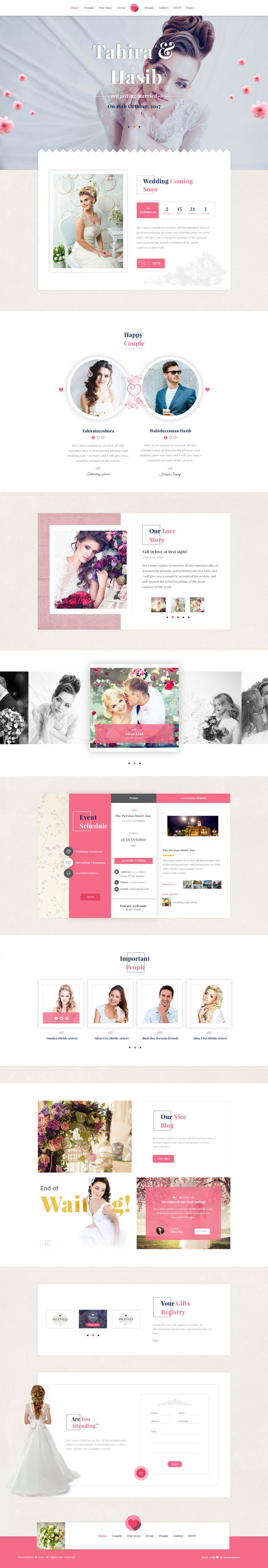Forever Love | Elegant Wedding & Agency PSD Template • Download ➝…