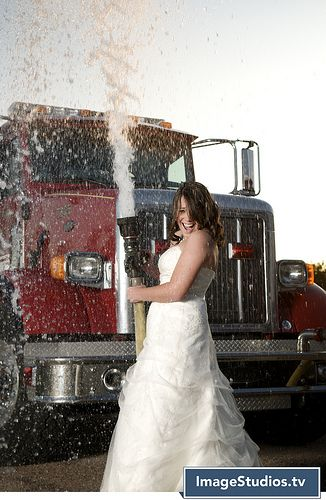 firefighter trash the dress...how cute!