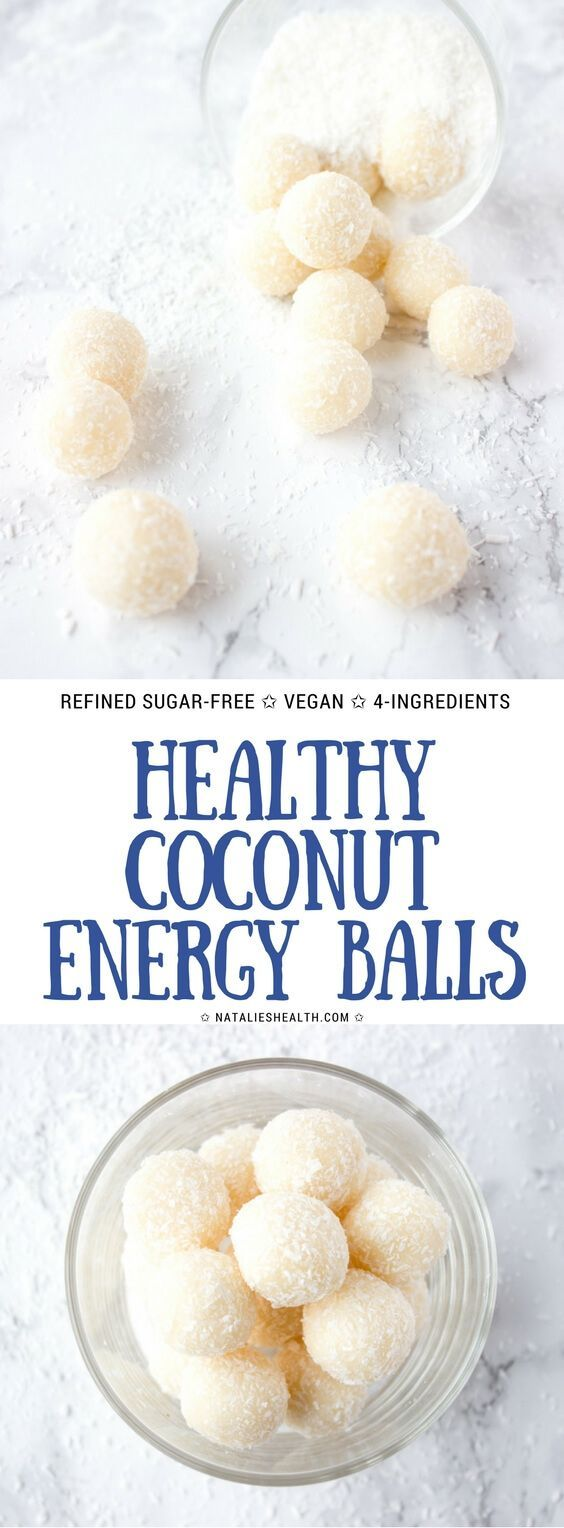 Healthy refined sugar-free Coconut Energy Balls made with only 4-ingredients. A super snack or Holiday dessert! #vegan #easy #kidfrinedly #glutenfree #healthy #healthylife #healthyrecipes #healthyeating #energyball #fitness #snack #workout #coconut | NATALIESHEALTH.com