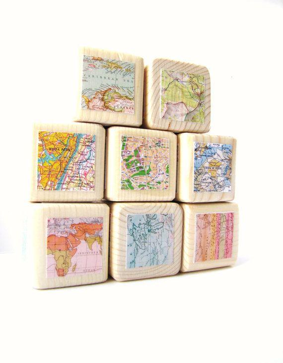 map blocks wood toy childrens blocks unique baby gift babyshower