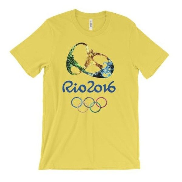 RIO 2016 OLYMPIC LOGO Unisex short sleeve t-shirt ❤ liked on Polyvore featuring tops, t-shirts, short sleeve t shirts, yellow top, short sleeve tops, unisex t shirts and yellow t shirt