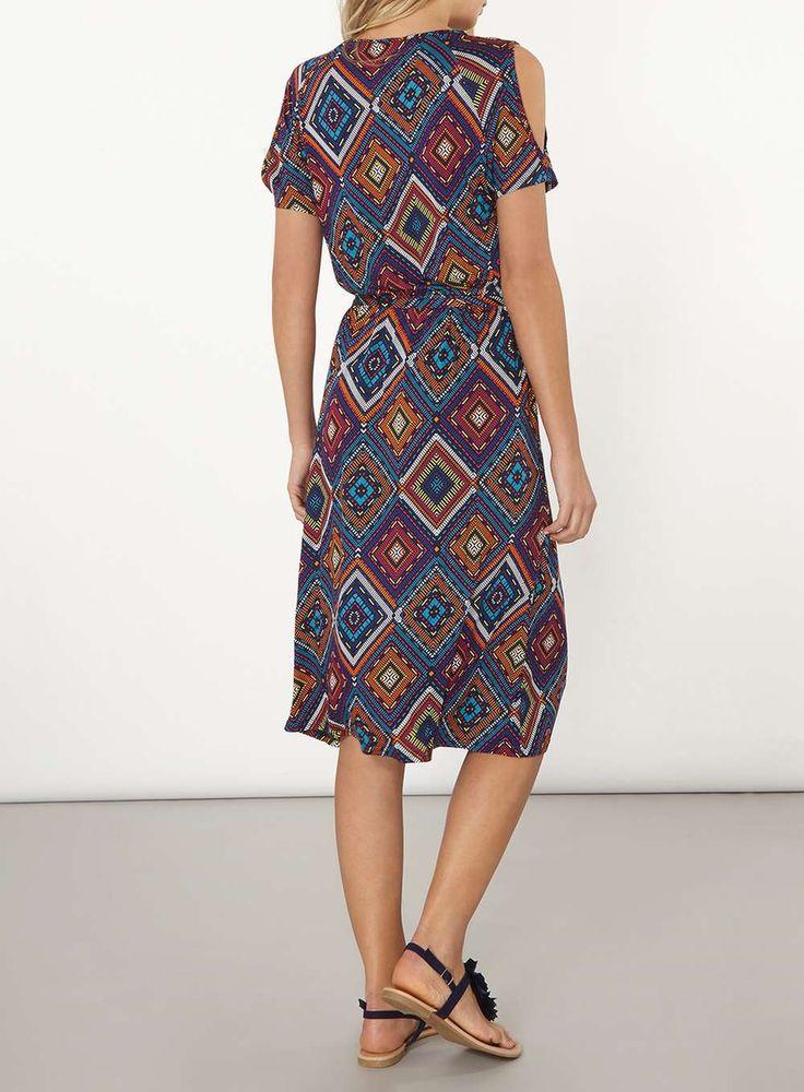 Womens Orange And Black Geometric Print Cold Shoulder Midi Dress- Multi Colour