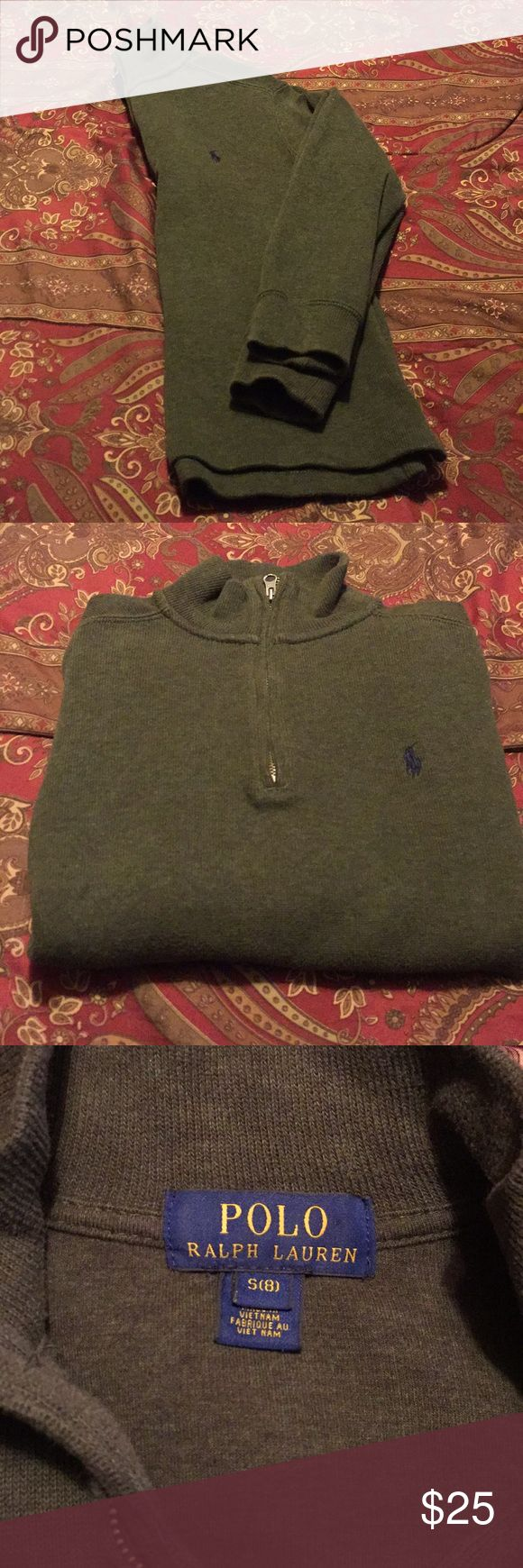 Polo pullover Boys Olive green Polo Ralph Lauren pullover with zip & blue and white collared buttoned up shirt to match Polo by Ralph Lauren Shirts & Tops Sweatshirts & Hoodies