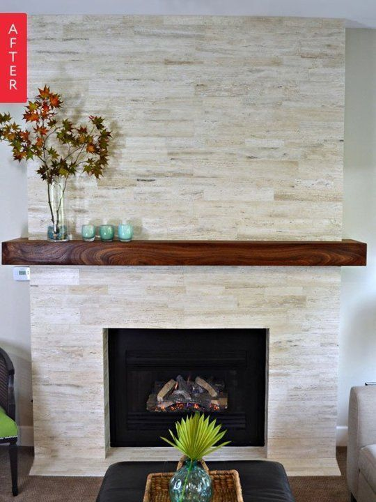 Very much like this fireplace makeover!  Modern but not sterile! (Before & After: A Major Mantel Makeover)