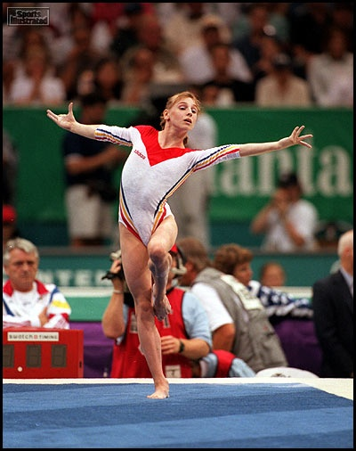 "Three-time Olympic Champion Simona Amânar. Creator of the ""Amanar"" vault (2.5 twisting yurchenko) currently a huge 6.3 starting value - one of the toughest vaults to date. She debuted her namesake at the 2000 Sydney games."