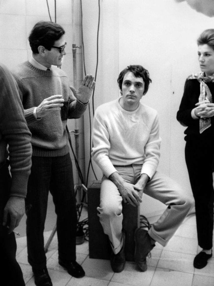 Pier Paolo Pasolini + Terence Stamp on the set of Teorema.