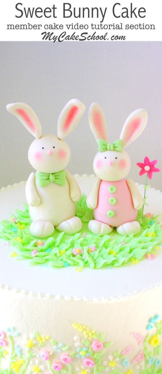 CUTE Gum Paste Bunnies! Cake Topper Video Tutorial by MyCakeSchool.com! {Member section} Perfect for Easter Cakes, Springtime Cakes, Baby Showers, and Young Birthdays!