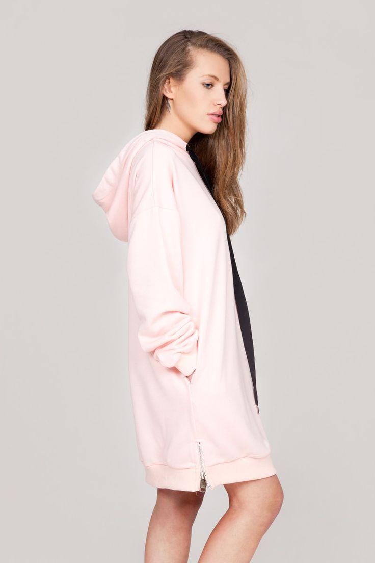Robe sweat rose à capuche et rubans