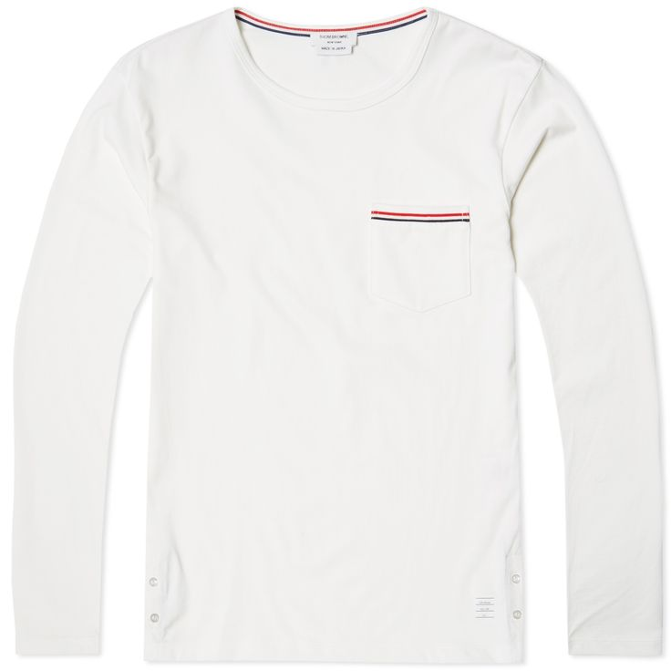 Thom Browne Long Sleeve Pocket Trim Tee (White)