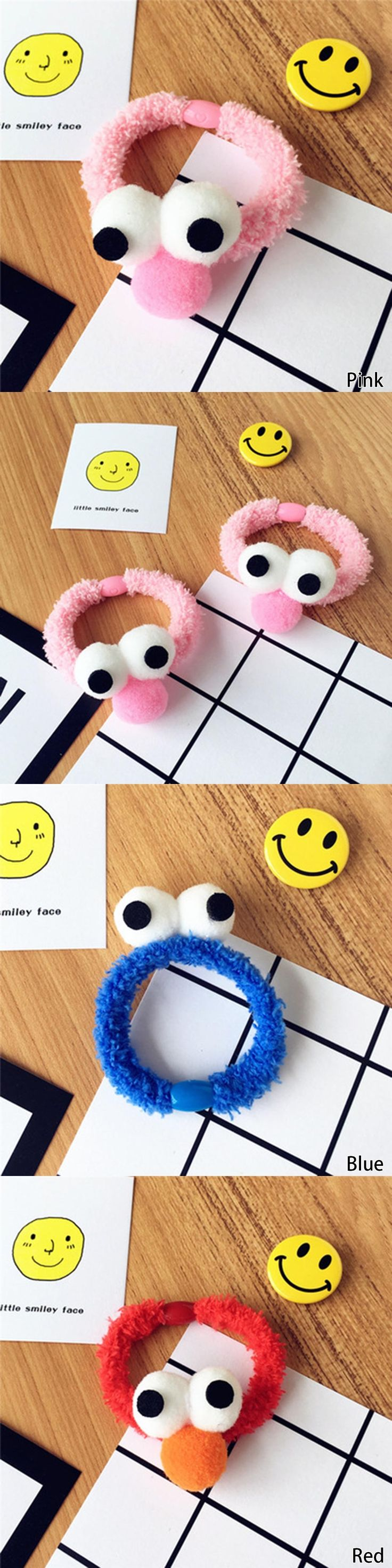 3 Colors Fleece Plush Hairbands Cartoon Sesame Street Hair Ring Cute Big Eyes and Nose Hair Bands For Women & Girls Headwear