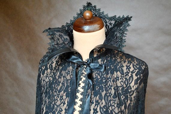 Gothic vampire cape with stand-up collar, made of good quality black lace, enclosured with satin ribbon, finished with decorative tape with great attention to details. Ideal for any occasion.  One uniwersal size Lenght: 130 cm  Find me on Facebook :) https://www.facebook.com/sophieandherstore