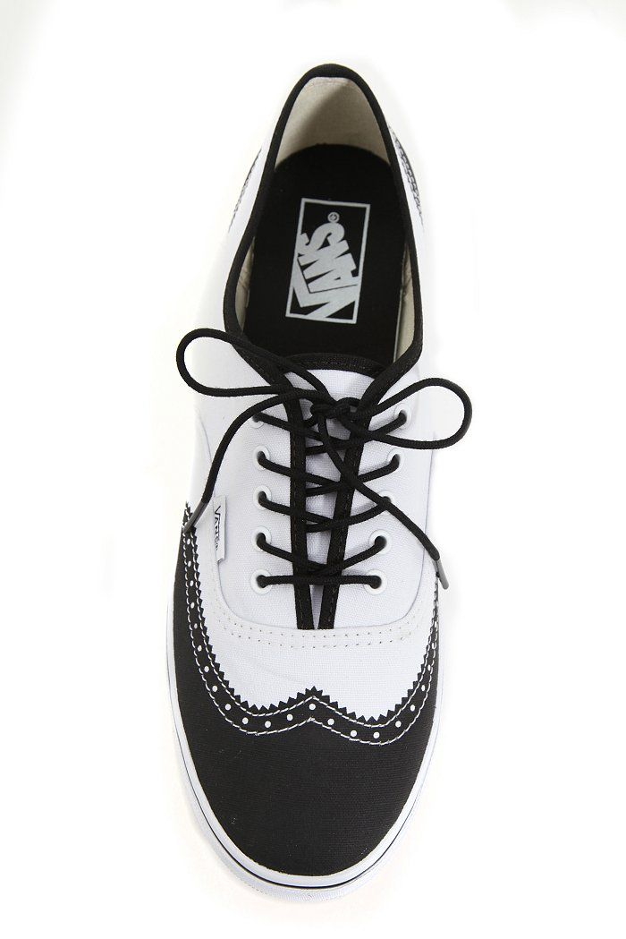 women's wingtip shoes black and white | Vans White And Black Oxford Wingtip Authentic Lo Pro Lace-Up Sneakers ...