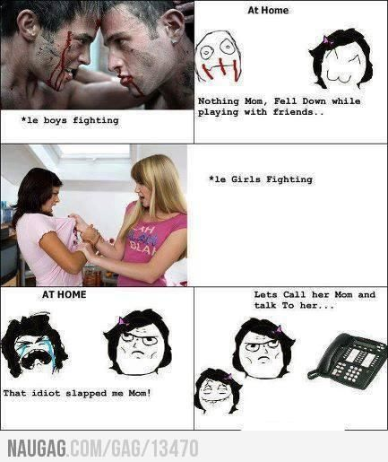 Funny Girl Fight Quotes: Difference Between How Boys Fight And How Girls Fight