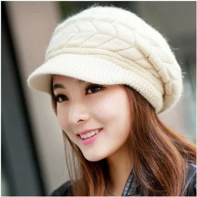 Elegant Women Hat Winter & Fall Beanies Knitted Hats For Woman Rabbit Fur Cap Autumn Ladies Female Fashion Skullies