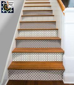Cuisine salle de bain mur escalier contremarche tuile stickers vinyle autocollant : Marocaine BrownMix Fmix6