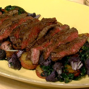 Michael Symon's Grilled Skirt Steak with Cauliflower Hash: Cauliflower Hash, Skirts, Cauliflowers, Steaks, Skirt Steak, Michael Symon, Chew Recipe, Steak Cauliflower