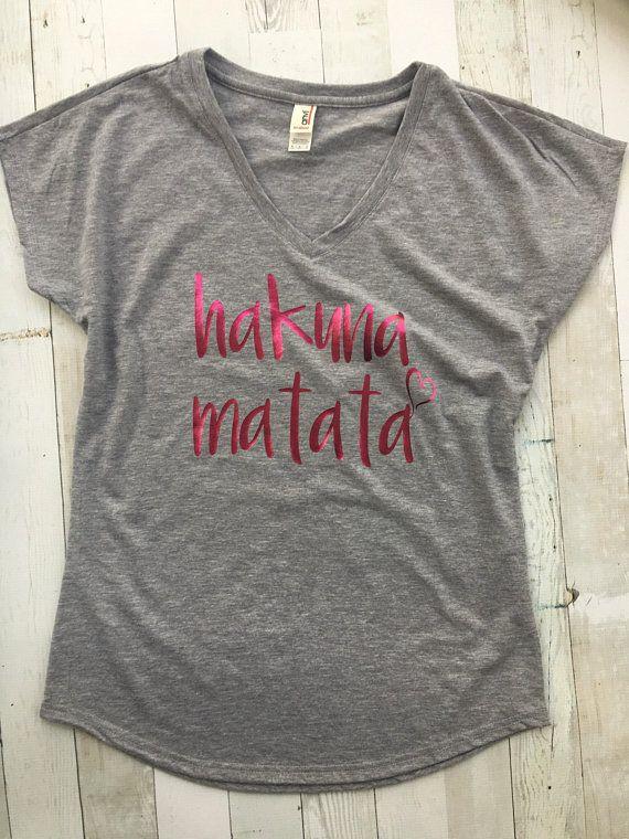 1c698dd36 Hakuna Matata Vneck Tshirt/ Womens Vneck / Disney Tshirt / Lion King Shirt  / Free Shipping