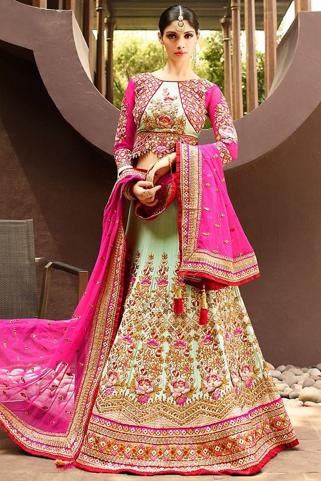Pale Green Art Silk A-Line Bridal Lehenga Choli Online ,Veeshack.com | Fashion for the World - 1