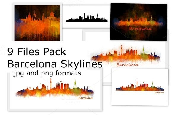 BUNDLE PACK 70% off: 9 Files pack. Barcelona Skylines by HQPhoto Store on @creativemarket