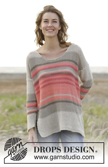 """Knitted DROPS jumper with stripes and vents in the sides """"Paris"""" and """"Bomull-Lin"""". Free Pattern"""