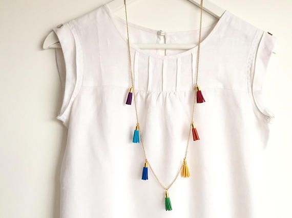 RAINBOW Multi-Tassel Necklace /Colourful Long Necklace with 7