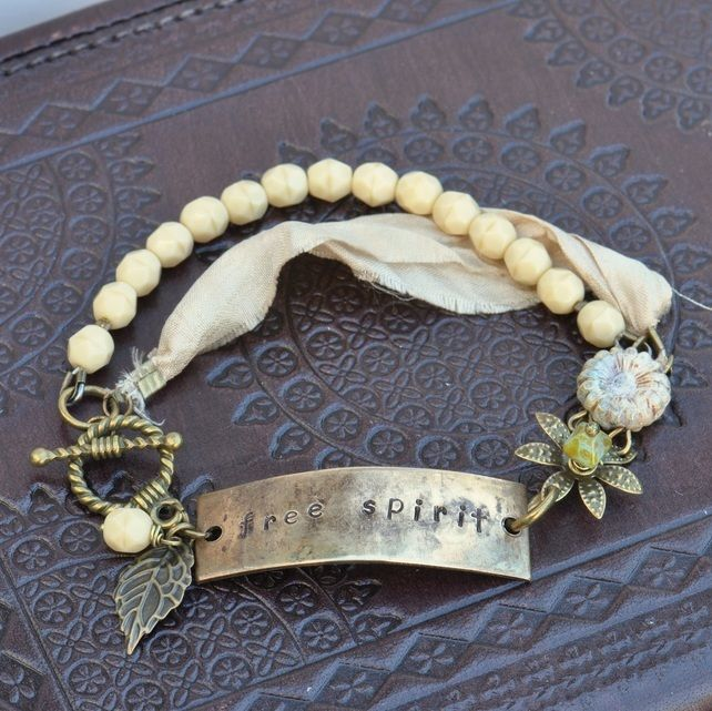 Free Spirit Vintaj Hand Stamped Bracelet with Czech Beads & Sari Silk Ribbon £12.50