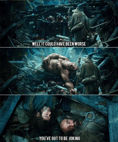 The Hobbit: An Unexpected Journey.. poor Kili. Always ends up at the bottom.