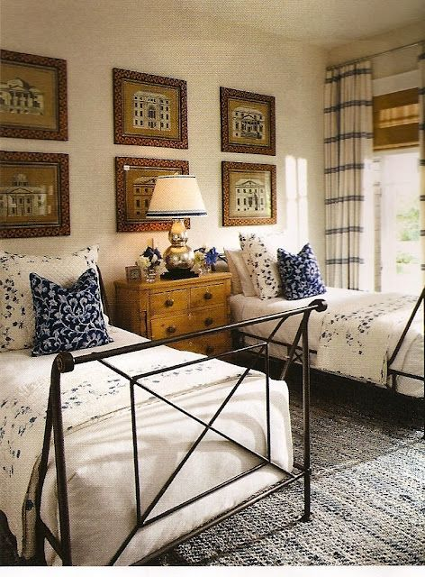 Marshall Watson - country traditional bedroom.  Love the window treatments, center chest of drawers and art arrangement