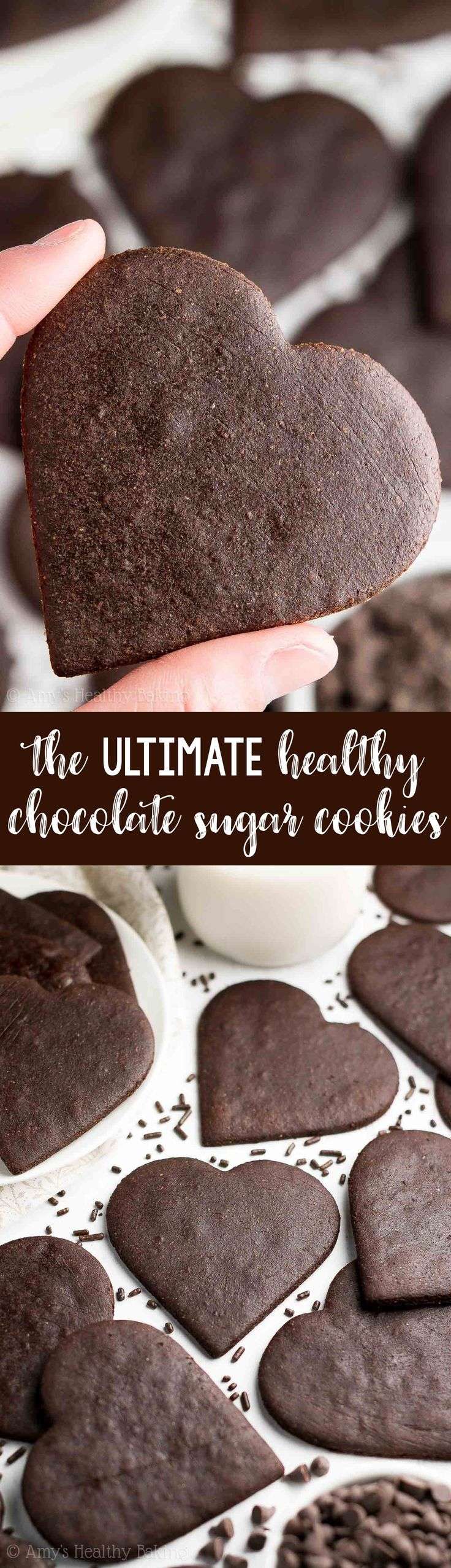 The ULTIMATE Healthy Chocolate Sugar Cookies! So rich & just 39 calories! They're soft, chewy & really easy to make. Truly the BEST! You'll never use another chocolate sugar cookie recipe again! | sugar cookies recipe | easy sugar cookies | gluten free sugar cookies | cut out sugar cookies