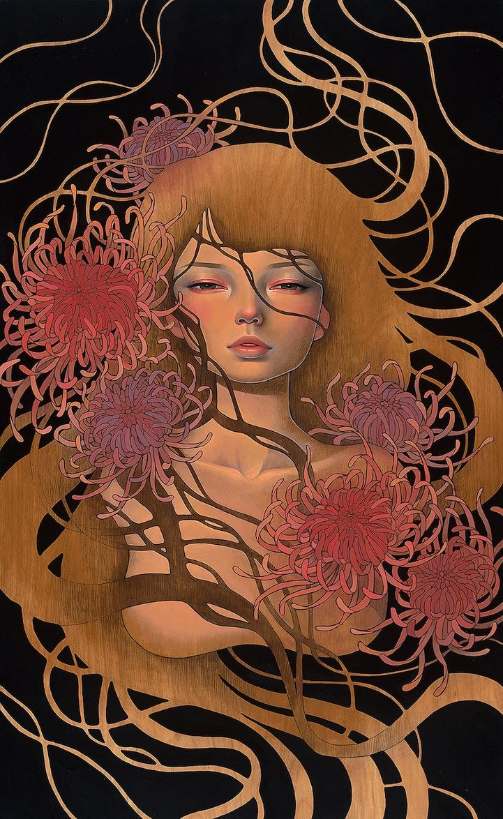 Audrey Kawasaki's New Wood Panel Paintings