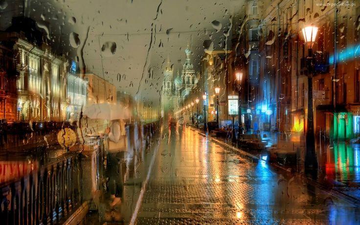 Miasto, Deszcz, Kobieta, Parasol